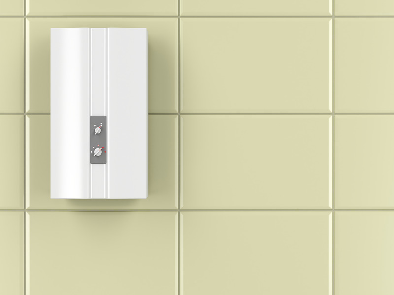 Automatic water heater in the bathroom, D illustration